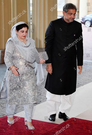 Pakistan's Prime Minister Shahid Khaqan Abbasi arrives for The Queen's Dinner during the Commonwealth Heads of Government Meeting at Buckingham Palace
