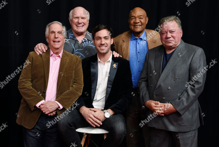 """Stock Picture of Jeff Dye, William Shatner, Terry Bradshaw, George Foreman, Henry Winkler. From left, Henry Winkler, Terry Bradshaw, Jeff Dye, George Foreman and William Shatner, from the NBC reality series """"Better Late Than Never,"""" pose for a portrait at NBCUniversal Studios in Universal City, Calif"""