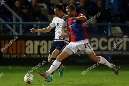 Stock Image of Michael Cheek of Dagenham and Redbridge and Sean St Ledger of Guiseley during Guiseley vs Dagenham & Redbridge, Vanarama National League Football at Nethermoor Park on 19th April 2018