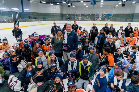 Editorial photo of Gold Medalists Drop the Puck on Comcast Cares Day 2018, Philadelphia, USA - 18 Apr 2018