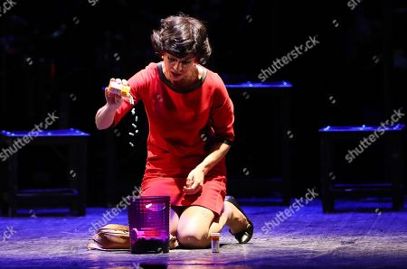 An actor of the 'Territory of  musical' theatre performs a play 'Next to Normal' in Minsk, Belarus, late 20 April 2018. Next to Normal is a 2008 American rock musical with book and lyrics by Brian Yorkey and music by Tom Kitt, that won the 2010 Pulitzer Prize for Drama. The musical was translated into Russian language and shown for the first time in Russian-speaking countries in Belarus.