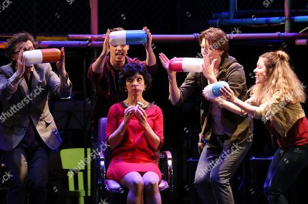 Actors of the 'Territory of  musical' theatre perform a play 'Next to Normal' in Minsk, Belarus, late 20 April 2018. Next to Normal is a 2008 American rock musical with book and lyrics by Brian Yorkey and music by Tom Kitt, that won the 2010 Pulitzer Prize for Drama. The musical was translated into Russian language and shown for the first time in Russian-speaking countries in Belarus.