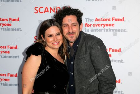 """Katie Lowes, Adam Shapiro. Katie Lowes, left, and Adam Shapiro arrive for the live stage reading of the """"Scandal"""" series finale at El Capitan Theatre, in Los Angeles"""