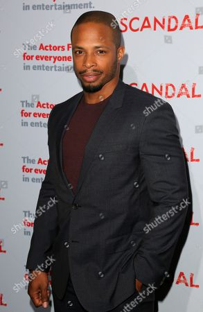 "Stock Image of Cornelius Smith Jnr., cast member of ""Scandal"" arrives a the live stage reading of the series finale at El Capitan Theatre, in Los Angeles"