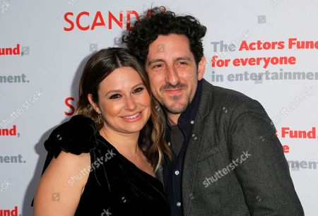 """Katie Lowes, Adam Shapiro. Katie Lowes, left, and Adam Shapiro arrive at the live stage reading of the """"Scandal"""" series finale at El Capitan Theatre, in Los Angeles"""