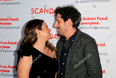 """Katie Lowes, Adam Shapiro. Katie Lowes, left, and Adam Shapiro look at each other at the live stage reading of the """"Scandal"""" series finale at El Capitan Theatre, in Los Angeles"""