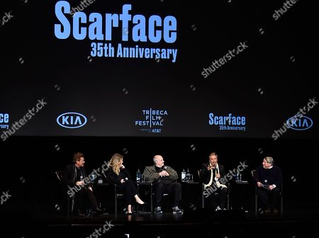 "Steven Bauer, Michelle Pfeiffer, Brian De Palma, Al Pacino. Actor Steven Bauer, actress Michelle Pfeiffer, director Brian De Palma and actor Al Pacino attend a 35th anniversary screening ""Scarface"" at the Beacon Theatre during 2018 Tribeca Film Festival, in New York"