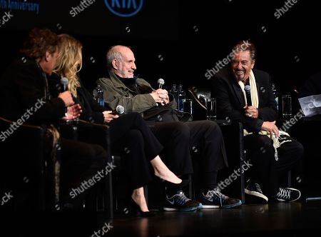 "Steven Bauer, Michelle Pfeiffer, Brian De Palma, Al Pacino. Actor Steven Bauer, actress Michelle Pfeiffer, director Brian De Palma and actor Al Pacino, from left, attend a 35th anniversary screening ""Scarface"" at Beacon Theatre during the Tribeca Film Festival, in New York"