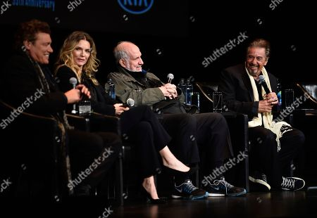 "Steven Bauer, Michelle Pfeiffer, Brian De Palma, Al Pacino. From left to right, actor Steven Bauer, actress Michelle Pfeiffer, director Brian De Palma and actor Al Pacino attend a 35th anniversary screening ""Scarface"" at the Beacon Theatre during 2018 Tribeca Film Festival, in New York"