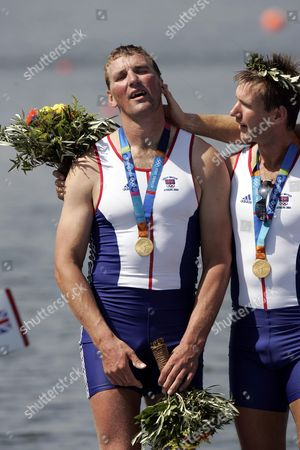Matthew Pinsent And Ed Coode After Winning Mens Coxless Fours Gold Medal At 2004 Olympic Games In Athens