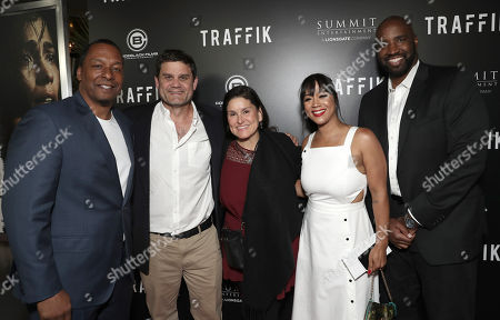 Stock Image of Director Deon Taylor, Lionsgate Motion Picture Group President of Acquisitions and Co-Productions Jason Constantine, Shannon McIntosh, Producer Roxanne Avent and Ephraim Salaam