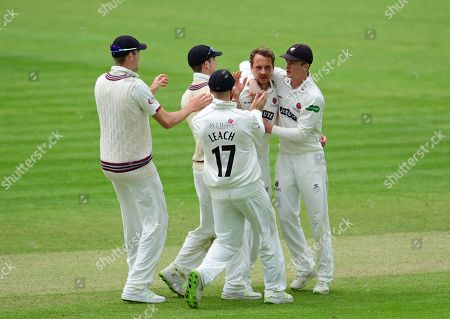 Josh Davey of Somerset celebrates the wicket of Ben Cox  with his teammates