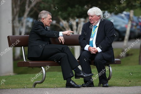 Stock Photo of Willie Rennie MSP, Leader of the Scottish Liberal Democrats, and Brian Taylor, political editor for BBC Scotland, chat off-camera