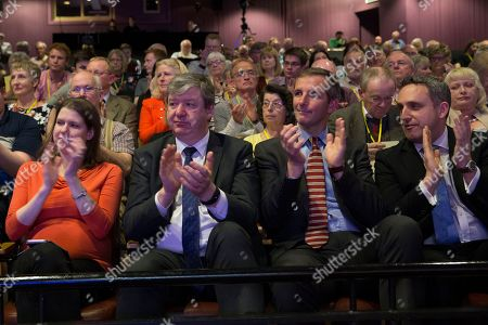 Jo Swinson MP, Alistair Carmichael MP, Liam McArthur MSP and Alex Cole-Hamilton MSP applaud Willie Rennie MSP, Leader of the Scottish Liberal Democrats, as he takes to the stage to deliver his speech to conference
