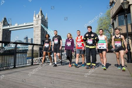 Stock Image of David Wyeth, Matthew Rees, Kathrine Switzer, Stephen's Team running for the Stephen Lawrence Charitable Trust (Magnus Menzefricke and Selam Amare plus Sonia Watson), Michael Watson and others