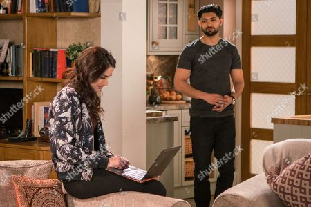 Ep 9438 Monday 23rd April 2018 - 2nd Ep With no money coming from her parents Rana Nazir, as played by Bhavna Limbachia, tells Kate that she can't move into the flat. Zeedan Nazir, as played by Qasim Akhtar, needs her help and she sets about trying to source furniture for the restaurant.