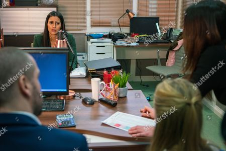 Ep 9437 Monday 23rd April 2018 - 1st Ep Alya Nazir, as played by Sair Khan, heads off to work where Summer Spellman, as played by Matilda Freeman, has spotted a miscalculation in Alya's figures that could have cost Aidan Connor, as played by Shayne Ward, thousands of pounds. Alya is humiliated.