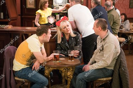 Ep 9446 Wednesday 2nd May 2018 - 2nd Ep On Tyrone Dobb', as played by Alan Halsall, advice Kirk Sutherland, as played by Andy Whyment, lies and tells Beth Sutherland, as played by Lisa George, that Sharon, the lady who's dog he is training, is in her sixties.