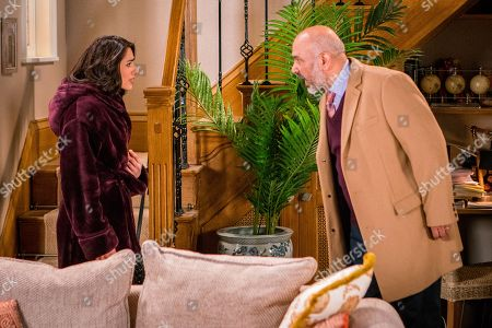 Stock Picture of Ep 9441 Friday 27th April 2018 - 1st Ep Rana Nazir, as played by Bhavna Limbachia, receives an anonymous phone call and is shocked when her father Hassan Habeeb, as played by Kriss Dosanjh, arrives at number 6 an angrily accuses her of having her mother arrested.