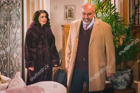 Ep 9441 Friday 27th April 2018 - 1st Ep Rana Nazir, as played by Bhavna Limbachia, receives an anonymous phone call and is shocked when her father Hassan Habeeb, as played by Kriss Dosanjh, arrives at number 6 an angrily accuses her of having her mother arrested.