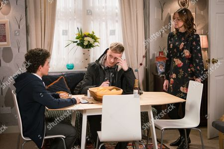 Ep 9441 Friday 27th April 2018 - 1st Ep When Simon Barlow's, as played by Alex Bain, behaviour oversteps the mark, with him and Tyler, as played by Will Barnett, skiving off school in the pub back room Toyah Battersby, as played by Georgia Taylor, realises it may be time to come clean to Peter.
