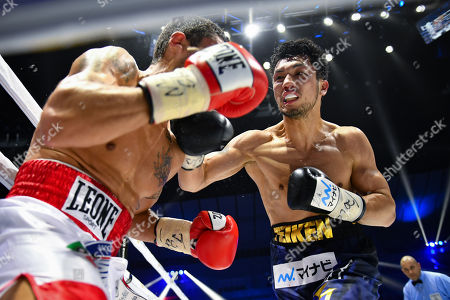 Stock Image of Ryota Murata of Japan in action against Emanuele Felice Blandamura of Italy during the sixth round of the WBA middleweight title bout