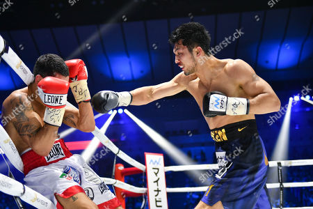 Stock Photo of Ryota Murata of Japan in action against Emanuele Felice Blandamura of Italy during the fifth round of the WBA middleweight title bout