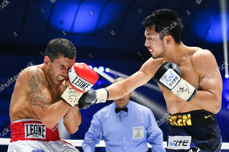 Stock Picture of Ryota Murata of Japan in action against Emanuele Felice Blandamura of Italy during the sixth round of the WBA middleweight title bout