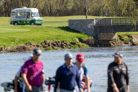 An ice-cream van passes by the Padraig Harrington, Paul McGinley and Shane Lowry at Adare Manor, as the 2020 JP McManus Pro-Am was launched. . Tickets for the event are now on sale from www.jpmcmanusproam.com.