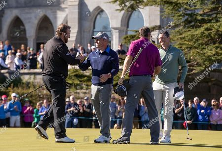 Shane Lowry, Paul McGinley, Padraig Harrington and Rory McIlroy shake hands after the round of golf at Adare Manor, as the 2020 JP McManus Pro-Am was launched. . Tickets for the event are now on sale from www.jpmcmanusproam.com.