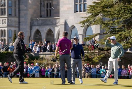 Padraig Harrington and Paul McGinley celebrate on the green at Adare Manor, as the 2020 JP McManus Pro-Am was launched. . Tickets for the event are now on sale from www.jpmcmanusproam.com.