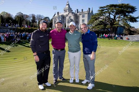 Shane Lowry, Padraig Harrington, Rory McIlroy and Paul McGinley after their round of golf at Adare Manor, as the 2020 JP McManus Pro-Am was launched. . Tickets for the event are now on sale from www.jpmcmanusproam.com.