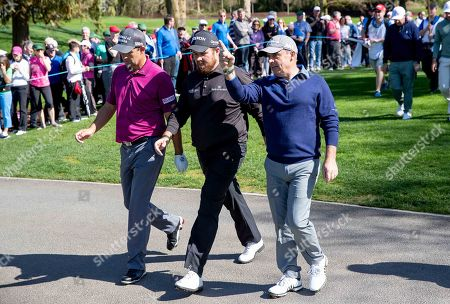 Padraig Harrington, Shane Lowry and Paul McGinley between holes at Adare Manor, as the 2020 JP McManus Pro-Am was launched. . Tickets for the event are now on sale from www.jpmcmanusproam.com.