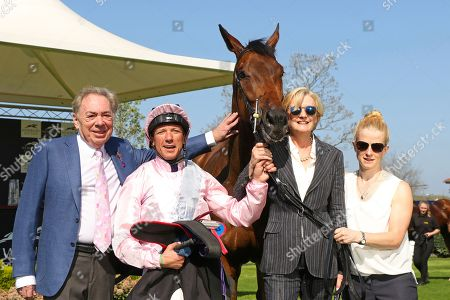 LA TI DAR ridden by Frankie Dettori with Lord & Lady Lloyd-Webber after winning The BJP Celebrating 20 Years Maiden Fillies' Stakes at Newmarket Copyright: Ian Headington/racingfotos.com