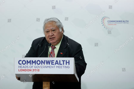 Samoa Prime Minister Tuilaepa Aiono Sailele Malielegaoi speaks during the closing press conference for the Commonwealth Heads of Government Meeting (CHOGM) at Marlborough House in London