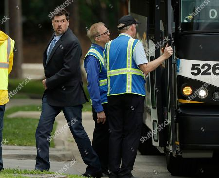 Former Navy Seal Marcus Luttrell arrives at St. Martin's Episcopal Church for a funeral service for former first lady Barbara Bush, in Houston