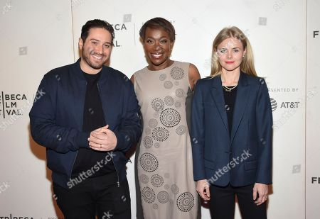"""Julia Willoughby Nason, Joy Reid, Jenner Furst. Co-directors Julia Willoughby Nason, left, and Jenner Furst pose with moderator Joy Reid, center, at the Tribeca TV screening of """"Rest in Power: The Trayvon Martin Story"""" at BMCC Tribeca PAC, during the 2018 Tribeca Film Festival, in New York"""