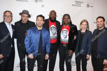 Stock Image of Chachi Senior, Executive Producer (2nd from left), Mike Gasparro, executive producer, Tracy Martin, Sybrina Fulton, Julia Willoughby Nason, Director and Jenner Furst, Director
