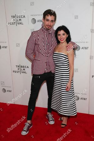 """Robert Sheehan, Maria Jose Bavio. s Robert Sheehan, left, and Maria Jose Bavio attend a screening of """"Picasso"""" at the BMCC Tribeca PAC during the 2018 Tribeca Film Festival, in New York"""