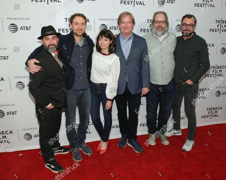 """Brian Girard, Sam Huntington, Kate Micucci, Mark McKinney, Dan Harmon, Vivieno Caldinelli. Actors Brian Girard, from left, Sam Huntington, Kate Micucci, Mark McKinney, Dan Harmon and director Vivieno Caldinelli attend a screening of """"Seven Stages to Achieve Eternal Bliss By Passing Through the Gateway Chosen By the Holy Storsh"""" at the SVA Theatre during the 2018 Tribeca Film Festival, in New York"""
