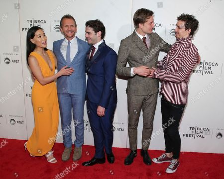 "Alicia Hannah, Sebastian Roche, Alex Rich, Lucas Arthur Englander, Robert Sheehan. Alicia Hannah, from left, s Sebastian Roche, Alex Rich, Lucas Arthur Englander and Robert Sheehan attend a screening of ""Picasso"" at the BMCC Tribeca PAC during the 2018 Tribeca Film Festival on in New York"