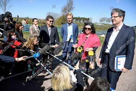 Ambassadors to the United Nations (L-R) Gustavo Meza-Cuadra of Peru, Carl Skau, adjunct ambassador of Sweden, Karen Pierce of Great Britain and Francois Delattre of France talk to journalists upon their arrival for a UN Security Council meeting at Backakra outside Ystad, southern Sweden, 21 April 2018. The meeting on Syria will take place at Backakra, the estate of Dag Hammarskjold, who served as UN Secretary-General from 1953 until his death in a plane crash in September 1961.