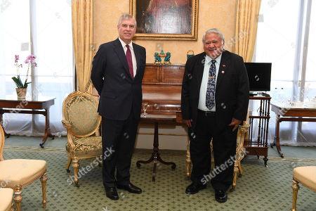 Prince Andrew meets with Tuilaepa Aiono Sailele Malielegaoi Prime Minister of Samoa in Buckingham Palace