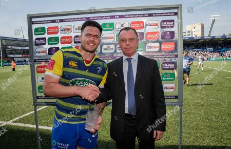 Cardiff Blues vs Pau. Cardiff Blues' Ellis Jenkins is presented with the man of the match award by Billy McNeill