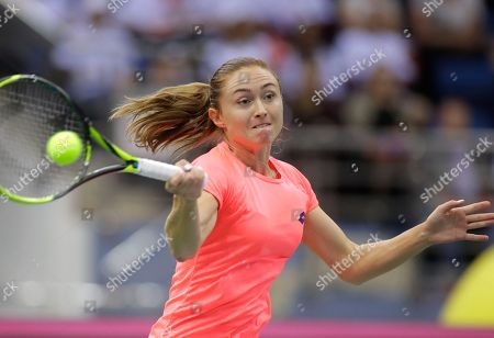 Aliaksandra Sasnovich of Belarus returns the ball to Jana Cepelova of Slovakia during the Fed Cup World Group play-off round tennis match between Belarus and Slovakia in Minsk, Belarus