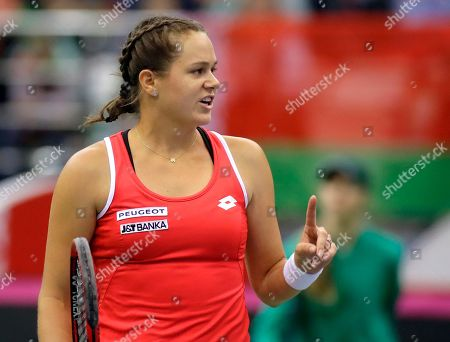 Jana Cepelova of Slovakia reacts after missing a point against Aliaksandra Sasnovich of Belarus during the Fed Cup World Group play-off round tennis match between Belarus and Slovakia in Minsk, Belarus