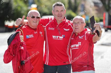Leinster vs Scarlets. Scarlets fans Colin Owens, Jeff Jenkins and Tony Rosser