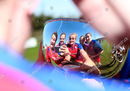 UL Bohemians vs Old Belvedere. Bohemians' Clodagh O'Halloran Chloe Pearse, Fiona Reidy, Rachel Allen and Anna Caplice celebrate