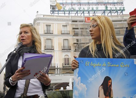 Diana Lopez (L), mother of late 18-year-old Diana Quer, delivers a speech next to her daughter Valeria Quer, sister of Diana, during a rally against the repeal of the 'Revisable Permanent Imprisonment' law in Puerta del Sol square in Madrid, Spain, 21 April 2018. The rally, held to demand the 'Non-Repeal of the Permanent Revisable Prison,' was led by relatives of Diana Quer, a 18-year-old woman killed on 22 August 2016. The participantes released balloons to pay tribute to Diana Quer and other innocent victims.
