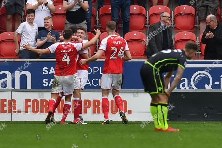 Rotherham United player Caolan Lavery (31) celebrates scoring goal to go 2-0 during the EFL Sky Bet League 1 match between Rotherham United and Bristol Rovers at the AESSEAL New York Stadium, Rotherham. Picture by Ian Lyall